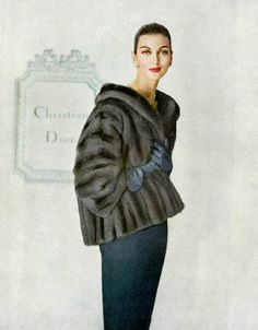 Carmen Dell' Orefice in Lutetia EMBA mink jacket by Christian Dior, photo by Virginia Thoren, 1958