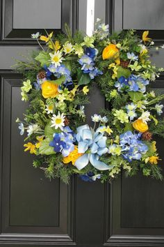 Spring Wreath, Blue and Yellow