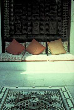 Shahira Mahrez Appartment, Cairo  Dusty mashrabiya behind the sofa