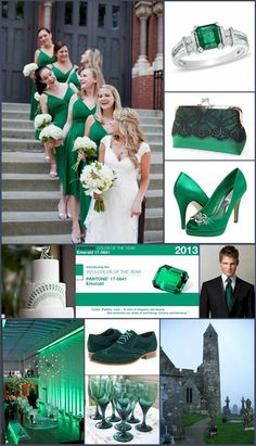 white flowers, color, emerald, bridesmaid dresses, the bride