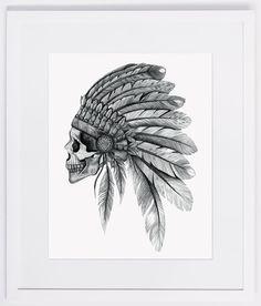 NZFINCH A4 indian chief skull, headdress, feathers digital print of original artwork. @Chloe Allen marty