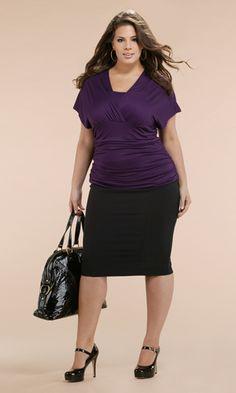 plus size outfits for work, fashion, plus size pencil skirt outfit, purple, curvy women, pencil skirts, work outfit, plus size women, black