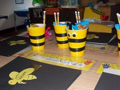 Melissa's World: Meet the Teacher Bee Attitude theme and classroom set up bee themed classroom, teacher gifts, bee classroom decor, student, teacher bees, bee cup, bee attitudes, bags, cup treat