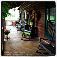 Log cabin country porch living - beautiful; love the stain color.....