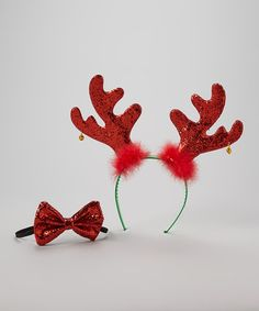 Take a look at this Red Reindeer Headband & Bow Tie by So Girly & Twirly on #zulily today!