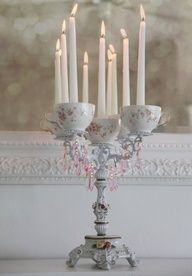 Tea cup candle holder