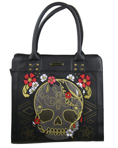 Sugar Skull with Embroidered Flowers Tote Bag