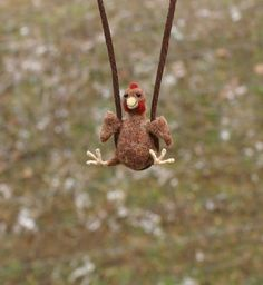 Tiny Chicken Necklace - needle felted