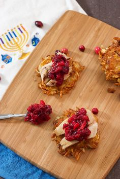 Potato Latkes Topped with Turkey and Cranberry Chutney #thanksgivukkahpotluck | The Girl in the Little Red Kitchen