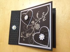 Fancy Fold - Hearts.  Stampin' Up.  Flowering Flourishes stamp set; Adoring Accents embossing Folder; Scalloped Heart of Heart Framelits