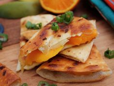 Home Skillet - Cooking Blog: Mango Camembert Quesadilla with Vanilla and Honey Tangerine Dip