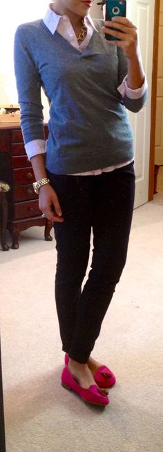 F21 button-up, LOFT outlet sweater, The Limited skinny pants, Target loafers, modified Style by Tori Spelling bracelet via Jo-Ann Fabrics, NY watch