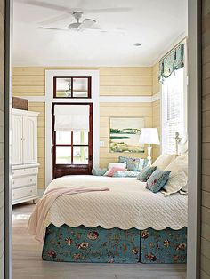 bedroom idea, cottag bedroom, floor, countri bedroom, dream homes, bed skirts, cottage bedrooms, plank wall, country bedrooms