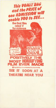 Vomit Bag issued for the first run of the 1970 horror film, Mark of the Devil