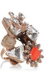ERICKSON BEAMON  Modern Mughal oversized Swarovski crystal ring