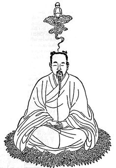 Very Ancient Illustration from The Secret of the Golden Flower - an ancient Taoist text - depicting the split of the astral body from the physical body and the silver cord linking the two.