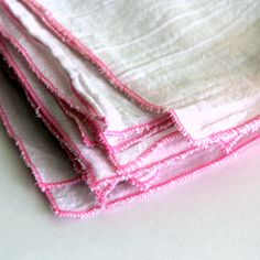 4 Cloth Unpaper Towel flour sack and pink edging. $9.00, via Etsy.