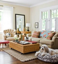 Pattern mixing adds visual interst to this casual living room without being overwhelming. More living room decor ideas: http://www.bhg.com/rooms/living-room/makeovers/living-rooms-style/?socsrc=bhgpin101313patternmixing&page=4