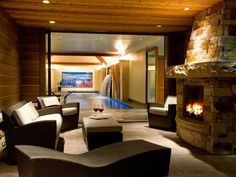 Indoor Pool + Outdoor Fireplace   Cool Houses Daily