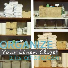 Tips  ideas for organizing your linen closet and bathroom storage.