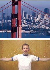 Easy demonstration of a suspension bridge