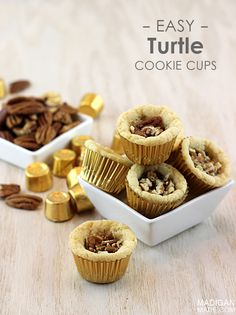 These Easy Turtle Cookie Cups are incredibly easy, and they're a ton of fun to eat. Bake these cookie cups for a party! The kids will love the chocolatey pecan and caramel crunch!