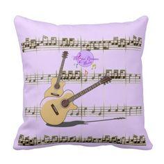 MoonDreams Music Guitar Riffs Purple Throw Pillow by MoonDreams Music #pillow #music #guitars #moondreamsmusic #home #purple #musicnotes