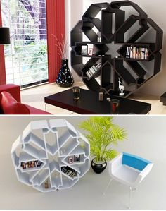 """This beautiful, snowflake-shaped bookcase from Younes Douret is called the Bibliothèque Zelli. Measuring 140cm (about 56 inches) in diameter, this is one piece of furniture that will be the center of attention wherever it's placed. The bookcase, distributed by Dar en Art, comes in white or black and according to Douret, is not actually based on a six-pointed snowflake – instead, Douret draws inspiration from an Arabic graphic called a """"Zellij"""", which has 8 points and is composed of 8 identical s"""