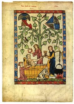Bathing in the Manesse codex, 14th century