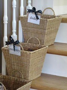 "CRAP Baskets. ""If I see or collect any one's crap throughout the house, it goes in that person's basket. When they are on their way upstairs, they need to either take their crap or just take the whole basket full of crap with them"" ---My family needs these!!!"