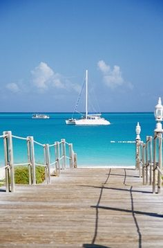 I want to be walking down that ramp. Grace Bay in the Turks and Caicos. Probably one of the most spectaculor beaches in the Caribbean. And good scuba diving too!
