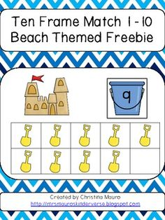 beach theme kindergarten, beaches, preschool ten frames, preschool theme beach, theme freebi, frame match, math ten, beach themes, tens frames kindergarten