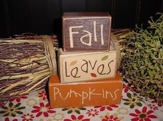 Fall LEAVES Pumpkins Autumn HARVEST Wood by SimpleBlockSayings, $24.95