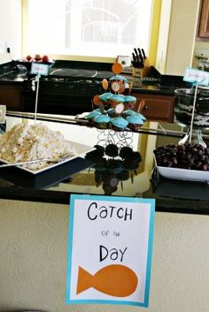 Catch of the Day sign for party food at Nemo bday party
