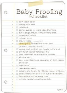 Thinking someone I know will be needing this! #Baby Proofing Checklist #Parenting