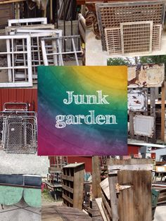 outside in the junk  garden.at the store.