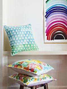 Blue/Green Triangle Cushion