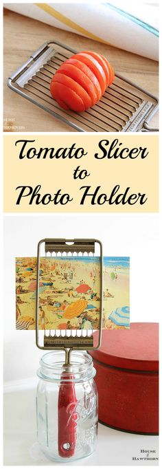 What a fun DIY repurpose!  It started out as a vintage kitchen tool (tomato slicer) and is repurposed into a photo/postcard holder.  Quick, easy and cute!