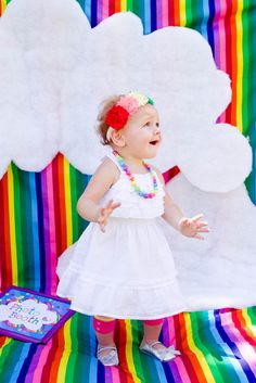 Backdrop for a rainbow party/photo booth