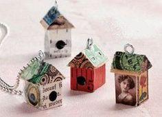 Make a little Mixed-Media Birdhouse Pendant