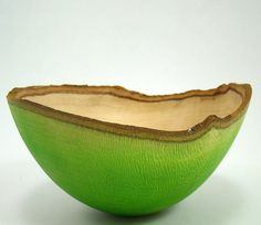 Greg Gallegos of the Natural Selection Studio uses woodturning and dyes to create these beautiful bowls.