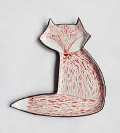 Fox plate  ceramic plate red fox by clayopera on Etsy, $35.00