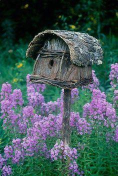 Rustic Tree Bark Roof Birdhouse