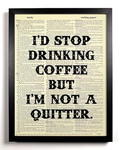 Kitchen Decor Funny Quote Print Coffee Art Quote by BookPageAngel, $8.99