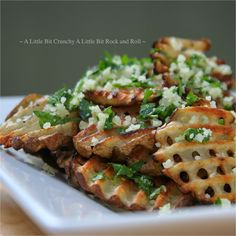 A Little Bit Crunchy A Little Bit Rock and Roll: Grilled Waffle Cut Potatoes with Garlic Parmesan Topping