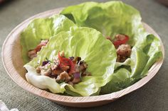 Thai Chicken Lettuce Cups. Something different! Lettuce leaves are a great idea.  #thaichicken #chickenrecipes