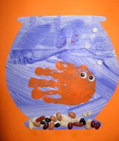 F is for fish art project, fish art, fish crafts, handprint art, hand prints, fishbowl, hand art, kid crafts, preschool art