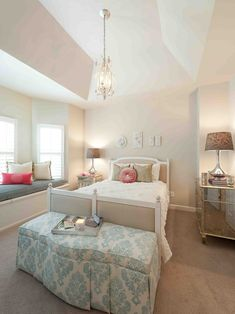 Too much beige in the bedroom - would like to have seen the headboard wall painted in the french blue to break up the beige girl bedroom, wall colors, interior design, girl room, bench, bedroom design, bedrooms, window seats, bedroom color