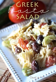 Greek Pasta Salad! This salad is SO easy to throw together and can be served warm or cold.  Cook  drain 1 box bowtie pasta.  Toss with   2 medium cucumbers sliced and quartered  4 Roma Tomatoes diced into large pieces  3/4 cup Kalamata Olives   1 cup fresh Parmesan shredded  1 cup feta crumbled  2 cups Italian dressing more or less depending on your taste
