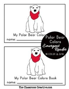 Polar bear scarf colors emergent reader. #winter #literacy